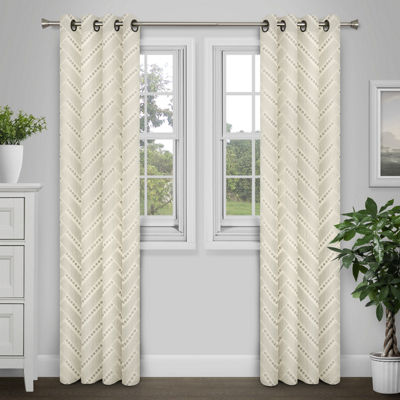 Journee Home Palmer Textured Grommet Curtain Panel Pair