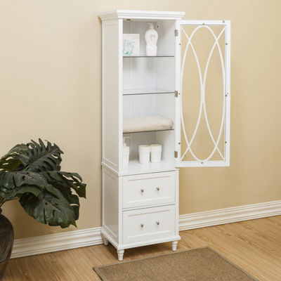 "60"" H Cassini Linen Tower with 3 adjustable tempered glass shelves and two drawers"