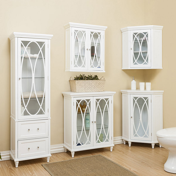 "24""H Cassini Two Doors Wall Cabinet with 2 Adjustable Tempered Glass Shelves"