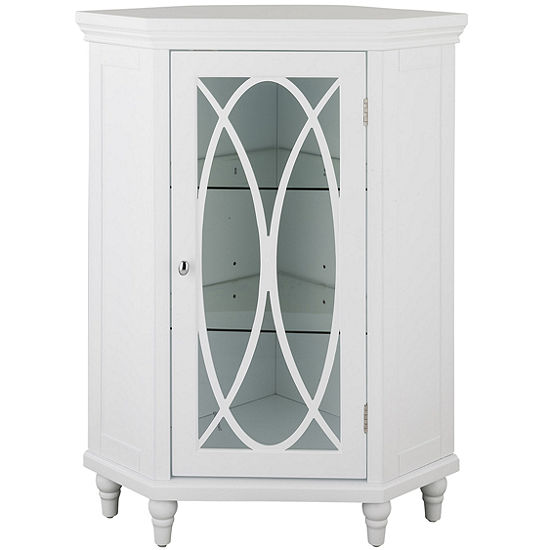 "32""H Cassini Corner Floor Cabinet with 2 adjustable tempered glass shelves"