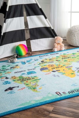 nuLoom Animal World Map Rug