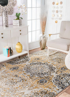 nuLoom Lita Faded Damask Rug