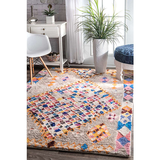 nuLoom Cleora Diamonds Shaggy Wool Hand Tufted Area Rug