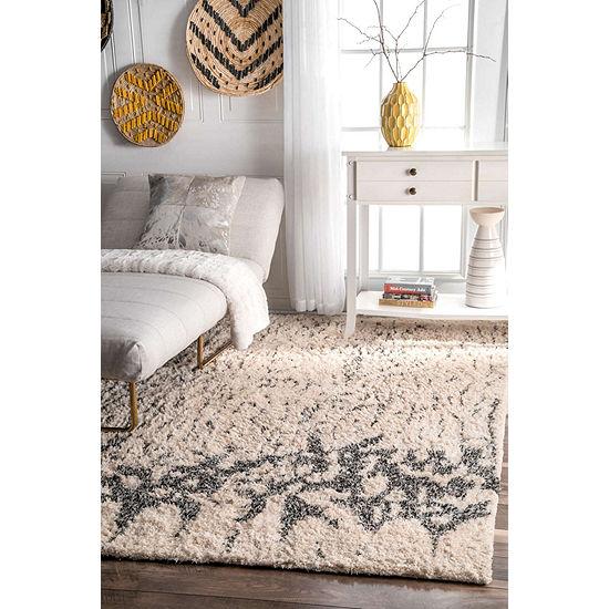 nuLoom Milda Cotton Abstract Shaggy Rug