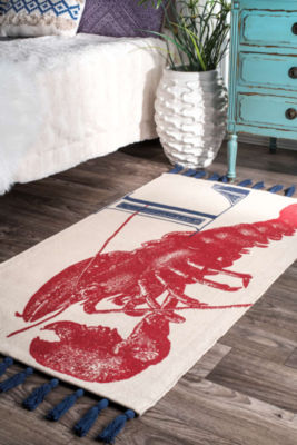 nuLoom Flat Woven Thomas Paul Collection Lobster Coastal Rug