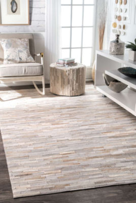 nuLoom Hand Woven Clarity Patchwork Cowhide Rug