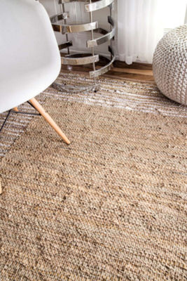 nuLoom Handwoven Solid Striped Border Neta Rug