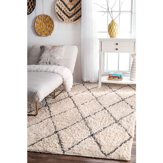nuLoom Sheba Cotton Diamond Shaggy Rug