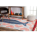 nuLoom Thomas Paul Flatweave Cotton Whale Rug