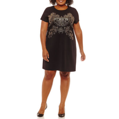 Worthington Short Sleeve Scroll Shift Dress - Plus