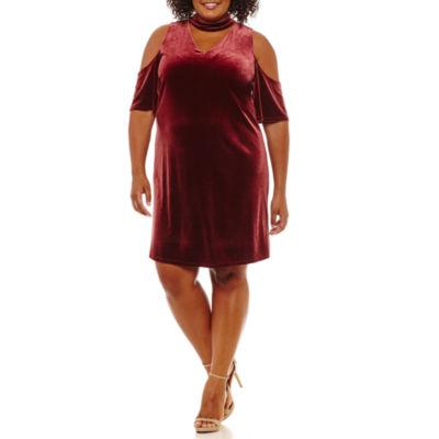 Worthington Short Sleeve Cold Shoulder Shift Dress-Plus
