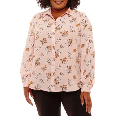 Worthington Long Sleeve Woven Floral Blouse-Plus