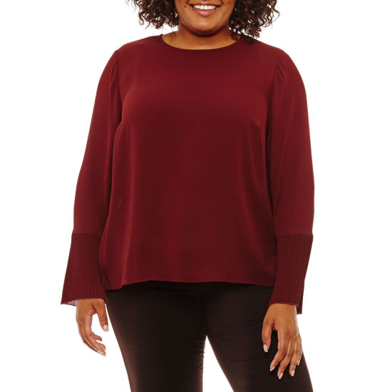 Worthington Long Sleeve Pleated Woven Blouse-Plus