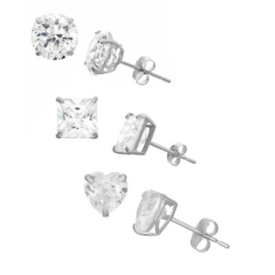 Lab Created White Sapphire Sterling Silver 6mm Stud Earrings