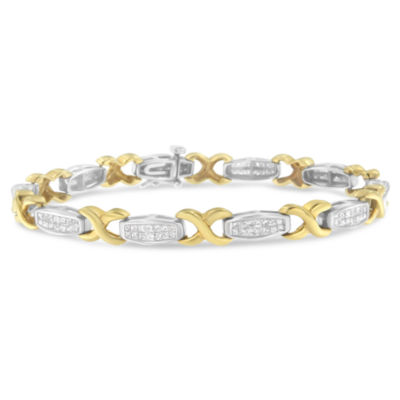 14K Two Tone Gold 7 Inch Solid Box Link Bracelet