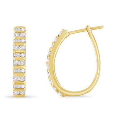 1 CT. T.W. White Diamond 10K Gold 24mm Hoop Earrings