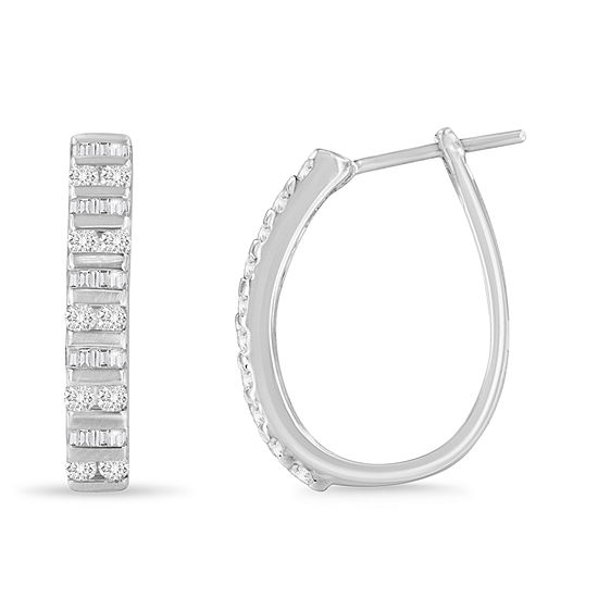 1 CT. T.W. Genuine White Diamond 10K White Gold 25mm Hoop Earrings