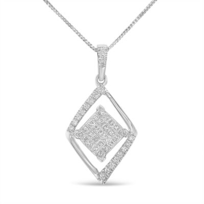 Womens 1/3 CT. T.W. White Diamond 10K Gold Pendant Necklace