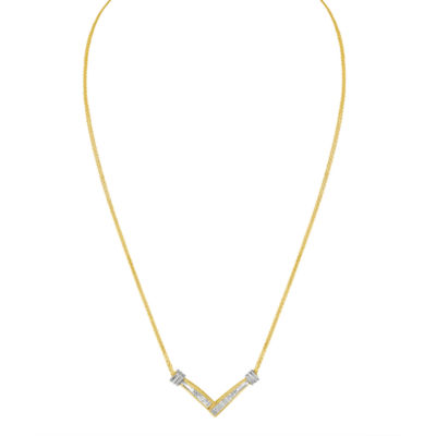 Womens 1/4 CT. T.W. White Diamond 14K Two Tone Gold Pendant Necklace