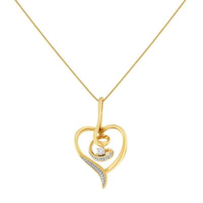 Womens Diamond Accent White Diamond 10K Gold Heart Pendant Necklace