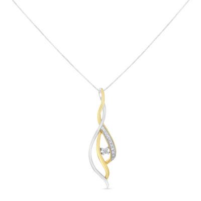 Womens 1/10 CT. T.W. White Diamond 10K Two Tone Gold Pendant Necklace