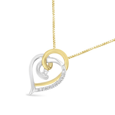Womens 1/10 CT. T.W. White Diamond 10K Two Tone Gold Heart Pendant Necklace