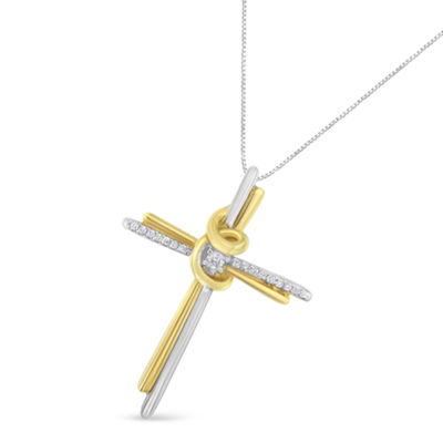 Womens Diamond Accent White Diamond 10K Two Tone Gold Cross Pendant Necklace