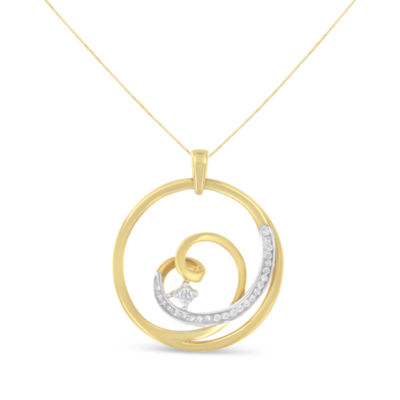 Womens 1/7 CT. T.W. White Diamond 10K Gold Heart Pendant Necklace