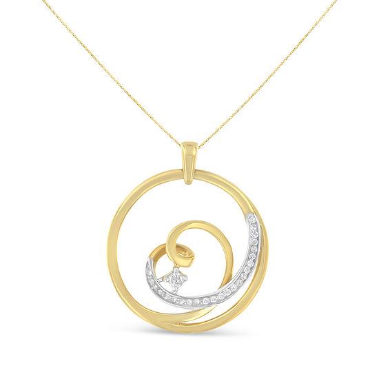 Womens 1 7 Ct Tw Genuine White Diamond 10k Gold Heart Pendant Necklace