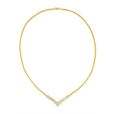 Womens 1/2 CT. T.W. White Diamond 10K Two Tone Gold Pendant Necklace