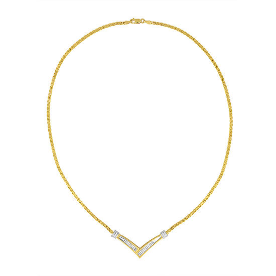 Womens 1/2 CT. T.W. Genuine White Diamond 10K Two Tone Gold Pendant Necklace