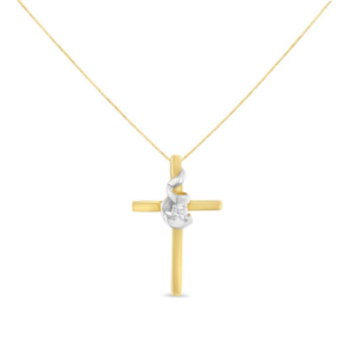 Womens Diamond Accent White Diamond 10K Two Tone Gold Cross Pendant Necklace