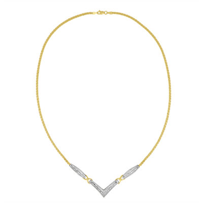 Womens 2 CT. T.W. White Diamond 14K Two Tone Gold Pendant Necklace