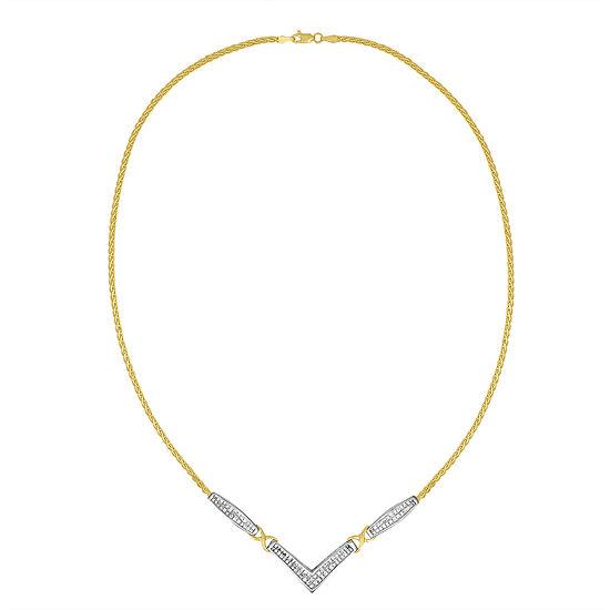 Womens 2 CT. T.W. Genuine White Diamond 14K Two Tone Gold Pendant Necklace