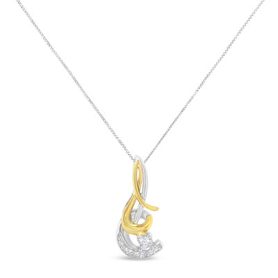 Womens 1/10 CT. T.W. White Diamond 10K Two Tone Gold Pendant Necklace