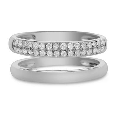 Womens 7.5mm 1/3 CT. T.W. White Diamond 14K White Gold Band
