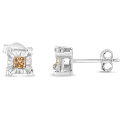 1/3 CT. T.W. White Diamond Sterling Silver 15mm Stud Earrings