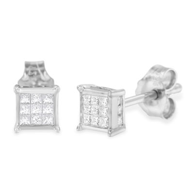 1/3 CT. T.W. White Diamond Sterling Silver 15mm Stud Earrings