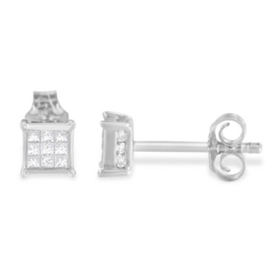 1/3 CT. T.W. Genuine White Diamond 15mm Stud Earrings