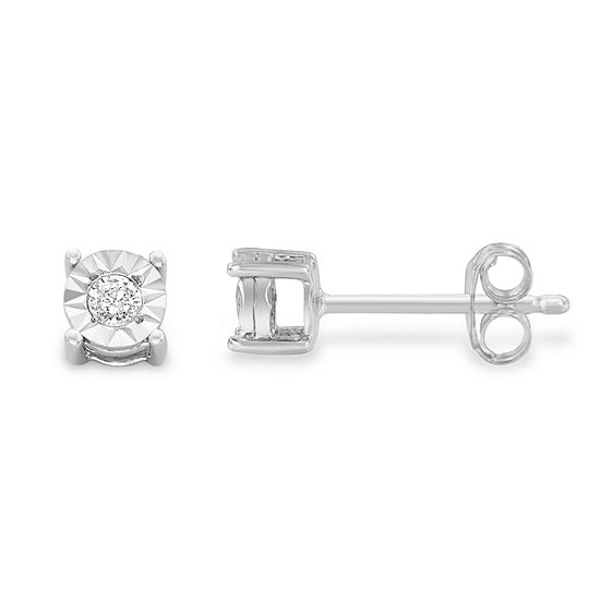 1 10 Ct Tw Genuine White Diamond Sterling Silver 15mm Stud Earrings