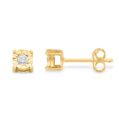 1/10 CT. T.W. White Diamond 10K Gold Over Silver 15mm Stud Earrings