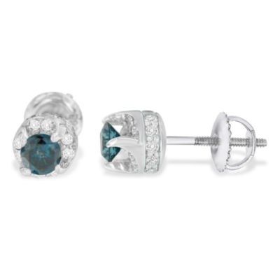 1 CT. T.W. Multi Color Diamond 14K White Gold 5mm Stud Earrings