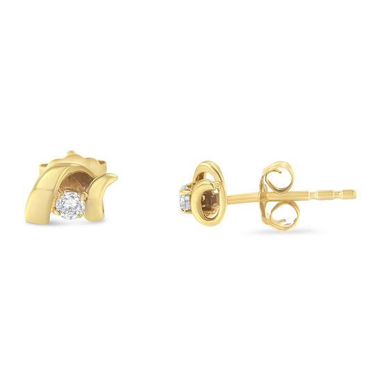 1/10 CT. T.W. Genuine White Diamond 10K Gold 30mm Stud Earrings
