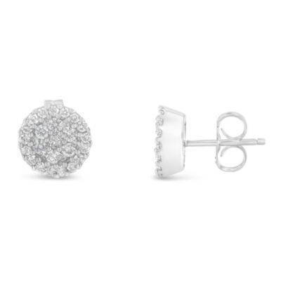 1/2 CT. T.W. White Diamond 14K White Gold 30mm Stud Earrings