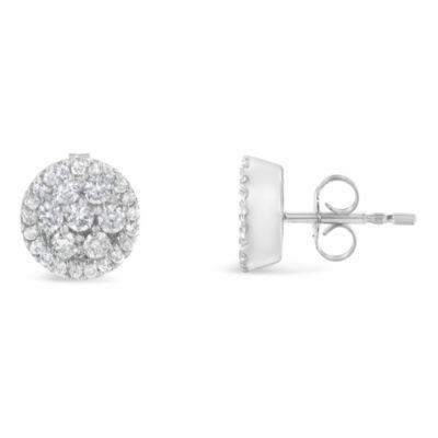 1 CT. T.W. White Diamond 14K White Gold 13mm Stud Earrings