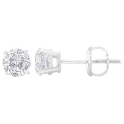 1 CT. T.W. White Diamond 14K White Gold 4.9mm Stud Earrings