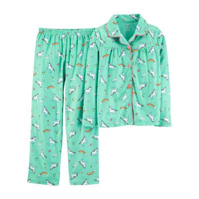 Carter's Button Long Sleeve Top & Pant 2-Pc. Pajama Set - Preschool Girls