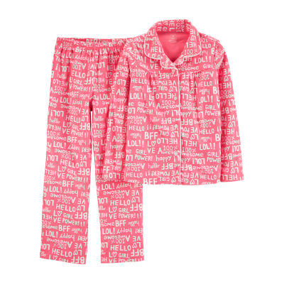 Carter's Button Front Long Sleeve Top & Pant 2-Pc. Pajama Set - Preschool Girls