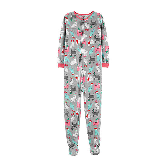 carters one piece christmas cat fleece pajama preschool girl
