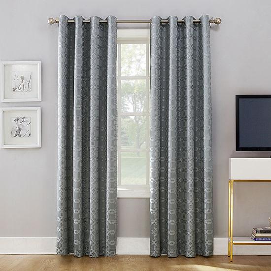 Sun Zero Rowes Energy Saving Blackout Grommet-Top Single Curtain Panel